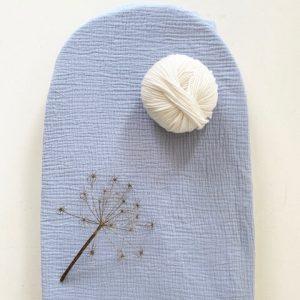 drap housser bleu gaufré